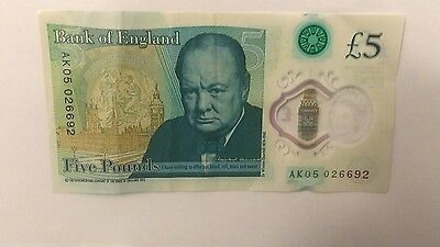 New Polymer 5£  AK05 026692 bank note very rare, low serial number