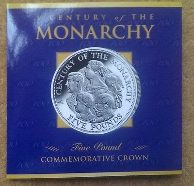 A Century Of The Monarchy Guernsey 2000 £5 Five Pounds Crown Coin In Folder