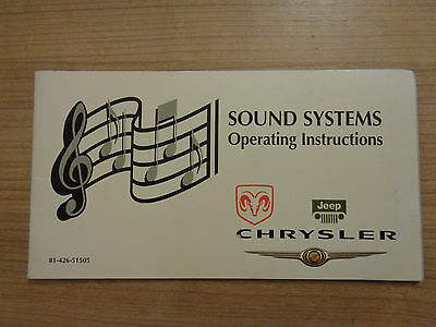Chrysler/Jeep/Dodge Sound System Radio Owners Handbook Manual