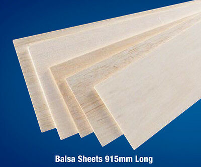 "Balsa Wood Sheet 36"" (915mm) Long - Various Thickness Pack of 5/10"