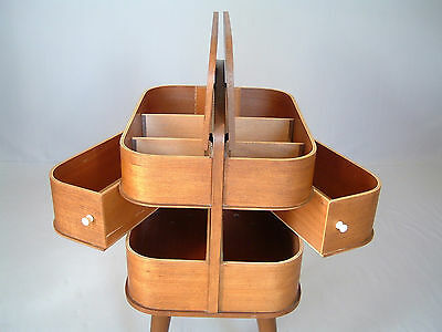 SEWING BOX mid century modern 50s 60s 70s table sideboard storage unit vintage