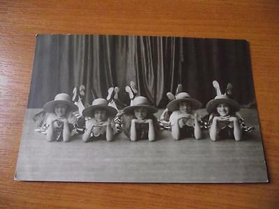 Early 20Th Century Theatre 5 Girls In Hats Very Sweet Postcard Very Nice
