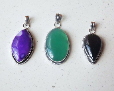 WHOLESALE LOT 3 pcs GREEN ONYX &MULTI-STONE 925 STERLING SILVER PLATED PENDANTS