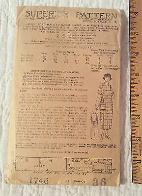 1919 Superior Pattern Ladies Long-Waisted Housedress Size 36 Unprinted Nr
