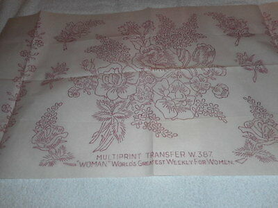 Large Vintage Embroidery Iron On Transfer-Woman World's No.W.387- Flowers