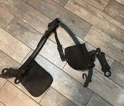 19th C Antique Primitive Early Old Worn Leather Horse Stamped Short Bridle
