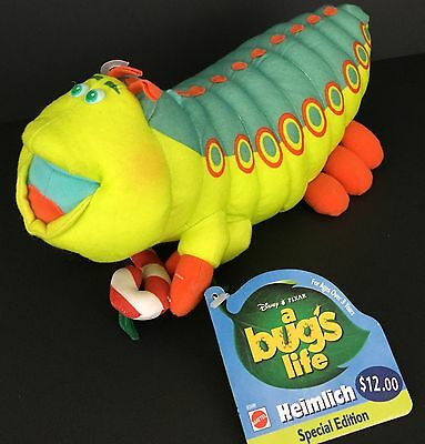 "Disney Pixar BUGS LIFE 12"" HEIMLICH Caterpillar Candy Cane Plush Stuffed 1998"