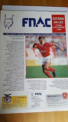 Benfica V Arsenal 23.10. 1991 - European Cup - Double Sided Colour Sheet