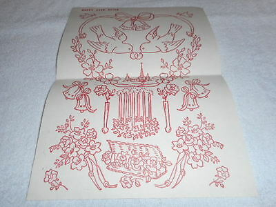 Vintage Embroidery Iron on Transfer-Happy Ever After -Flowers/ Love Birds/ Bells