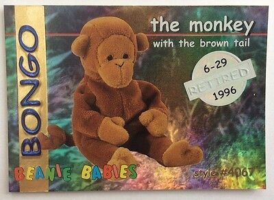 Ty Beanie Babies Series 1, Silver Retired card , BONGO the Monkey