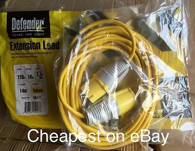 110V Extension Lead Cable 14m Long 16Amp 1.5mm  Site Power Hook up FREE DELIVERY
