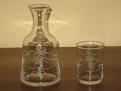 Southern Living At Home English Garden Bedside Set Hand Etched Glass Carafe