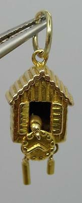 ** VINTAGE ENGLISH 9CT 9k GOLD MOVING CUCKOO CLOCK CHARM 2.7GMS C1952*