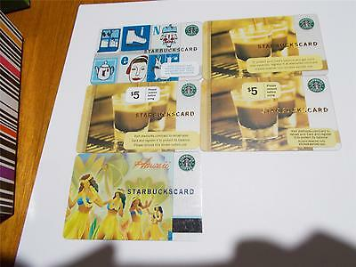 Starbucks Giftcard From United States 5 Diff For Collectors $5 Brown & White T23
