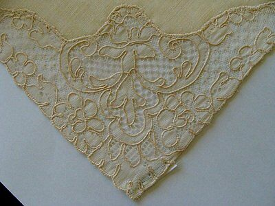 "EXQUISITE 12 French  ALENCON Lace Irish Linen Napkins 17"" Vintage UNUSED"