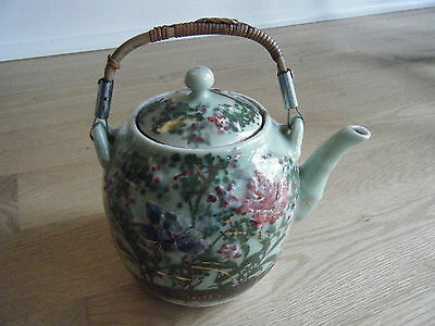 Japanese Seto Celadon Green Glazed Teapot Painted Flowers Handle, early1900s