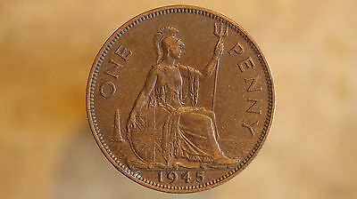 British Penny George V1 1945 Very Nice one