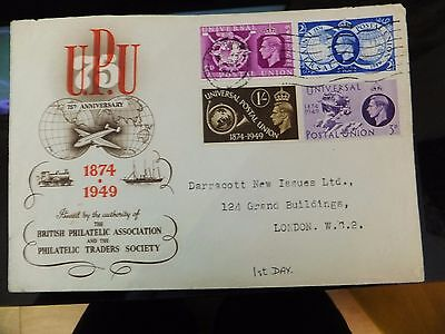 1949 75Th Anniversary Of Upu 1St Day Cover