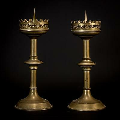 Stunning Pair of French Antique Bronze Candlesticks Brass Church Candle Holders