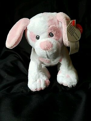 "6"" TY Pluffies Baby PUPS DOG Plush Puppy White Pink Stuffed Animal Beanie Toy"