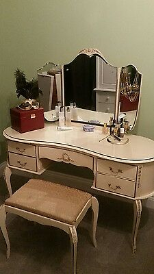 Antique French Louis Style Dressing Table with Triple Mirror and Stool