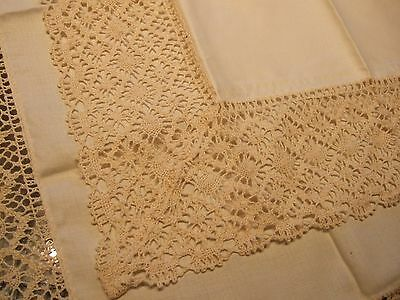 Vintage ecru bisque cotton hand crochet edge 1950' s tablecloth