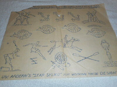 Vintage Embroidery Iron on Transfer- Weldon's Series No.470- Sports/ Anchor/Fish