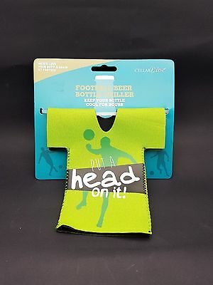 "Football Beer Bottle Chiller -Green - ""Put A Head On It"""