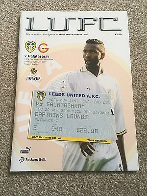 LEEDS UNITED v GALATASARAY UEFA CUP SEMI FINAL 1999-2000 PROGRAMME AND TICKET