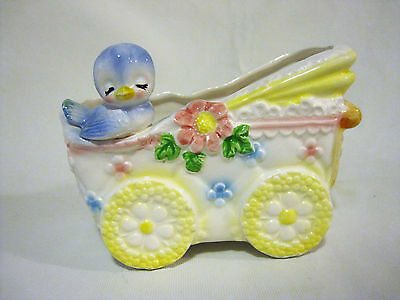 Pink Yellow Blue Baby Nursery Buggy Carriage Bird Flower Planter Shower Gift