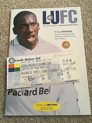 LEEDS UNITED v C.S. MARITIMO UEFA CUP 1998-1999 PROGRAMME AND MATCH TICKET
