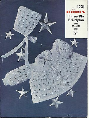 ORIGINAL VINTAGE 1960s KNITTING PATTERN BABY LACY MATINEE COAT / JACKET & BONNET