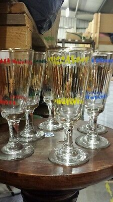 Set Of 6 Querky  Vintage Asorted Colorerd Stripes Glasses