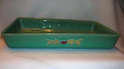 Coors Pottery Rosebud Baking Pan Dish Teal Robert Schneider Collection Colorado