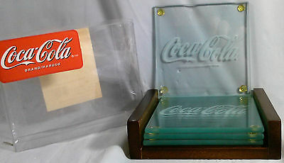 Set Of 4 Coca Cola Etched Glass Coasters With Wooden Holder New