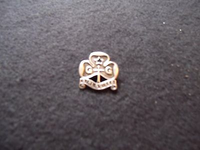 vintage girl guides silver  pin badge 1970
