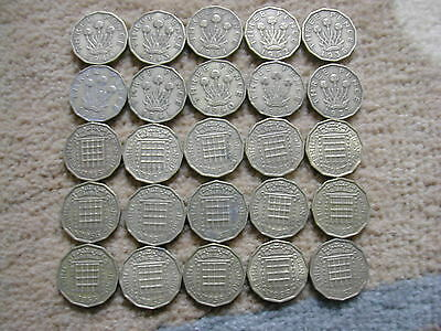 Brass Threepences - 25 different dates