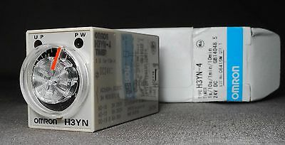 Omron H3YN-4-24DC Timer 1s/10s/1min/10min 4PDT 250VAC/3A contacts 24VDC coil