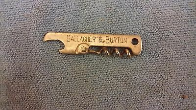 Vintage Gallagher & Burton Whiskey Bottle Opener  Corkscrew Advertising
