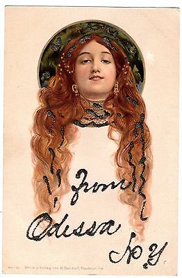 SUPER - Art Nouveau German Postcard - Lady Flowing Hair Mucha? 1908 Dondorf RARE