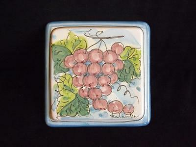 Fratantoni Vietri Grapes Trivet Tile Wall Plaque Made in Italy First Stones MINT
