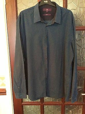 """Mens Teal/Black Stripe Long Sleeve Shirt Collar Size 18"""" - Slim Fit From Next"""