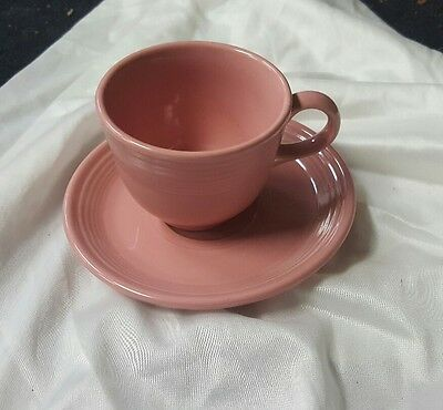 Vintage Fiesta Ware Cup & Saucer ROSE Color Ring Handle NR