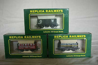 3x Replica Railways 00 Gauge Private Owner 7 Plank Wagons
