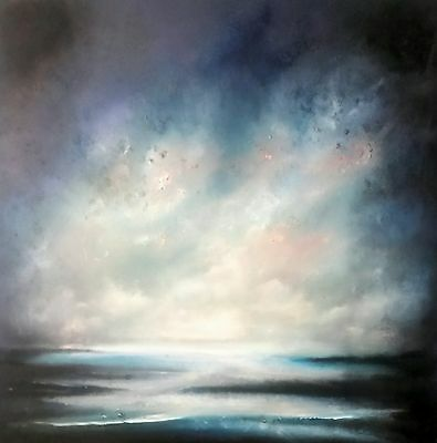 oil/acrylic original painting on canvas, semi abstact. Misty clouds. British art