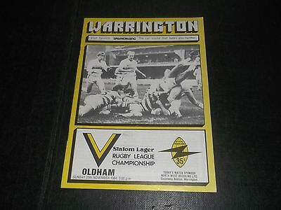 Programme Warrington V Oldham 1984