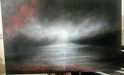oil/acrylic original painting on canvas, Misty clouds. British art, loch, lake