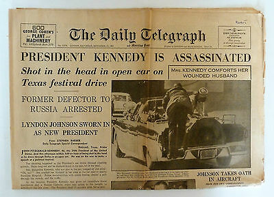 JFK Assassination Newspaper,Daily Telegraph.23/11/63 1963.Doctor Who 1st Shown.