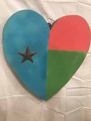 Unique Recycled Metal Primitive Heart ��- Retro Americana -Funky