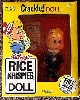 """Vintage Kellogg's Rice Krispies Doll """" Crackle """" Never Removed from Original Box"""